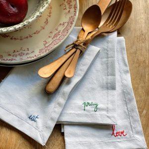 """SERVIETTE DE TABLE """"MESSAGE"""" @madamecrobalo"""
